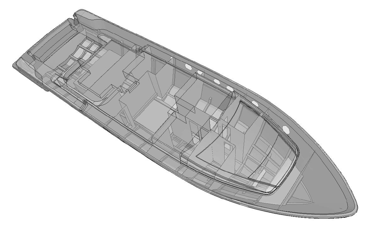 Fig. 2 – Modello FEM di motoryacht
