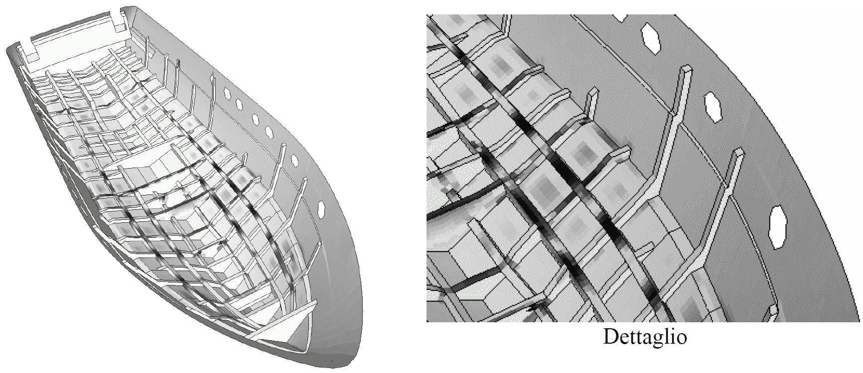 Fig. 4 – Distribuzione di stress sulle strutture interne e sullo scafo