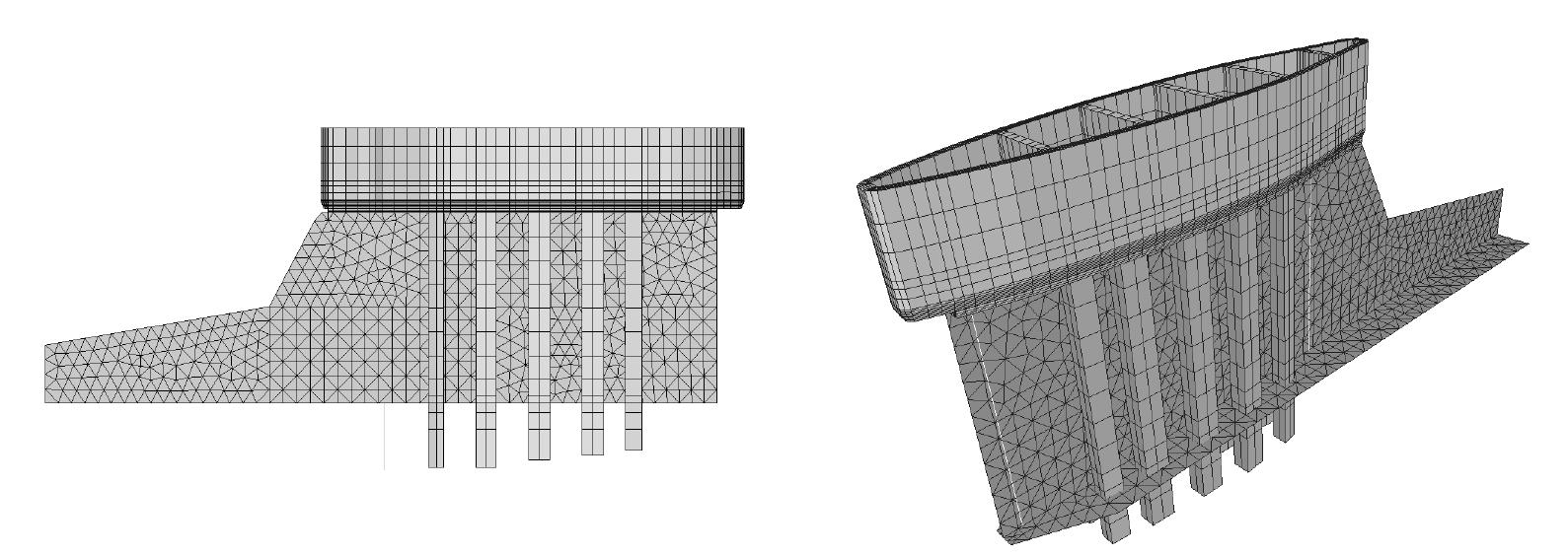 Fig. 8 – Modello FEM del collegamento bulbo-chiglia