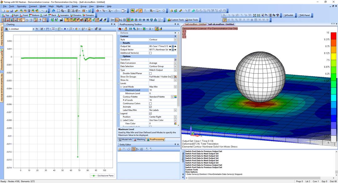 Esempio di analisi transitoria non lineare con Femap e NX Nastran