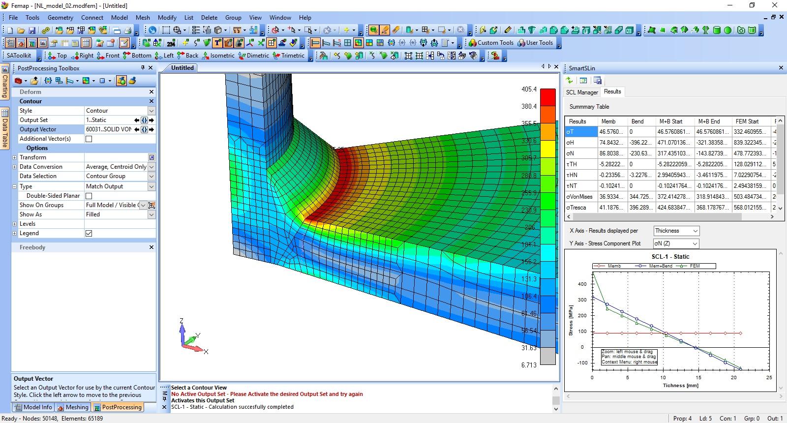 Figura 3 – Linearizzazione delle Sollecitazioni con Femap e SCL-Analyzer